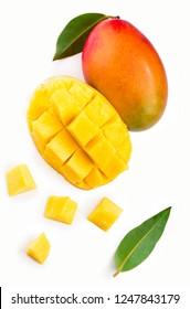 Mango fruit with mango cubes and slices. Isolated on a white background