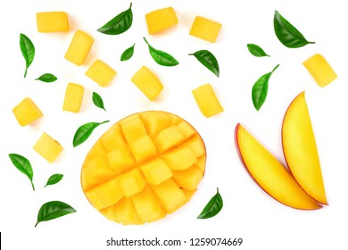 Mango fruit decorated with leaves isolated on white background close-up. Top view. Flat lay