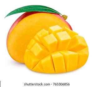 Mango fruit and mango half Isolated on a white Clipping Path