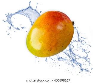 Mango fruit isolated on white background in a water splash