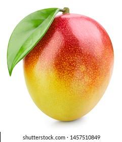 Mango fruit with leaf isolated on white background. Mango Clipping Path. Professional studio photo