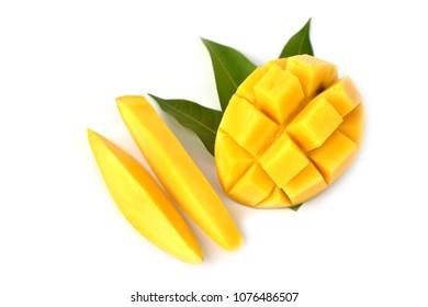 Mango fruit with leaf isolated white background