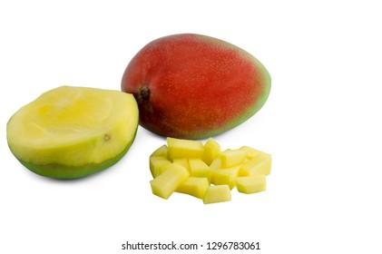 mango fruit sliced isolated over white background