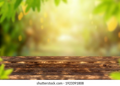 Mango garden with fruits and wooden table background.