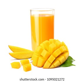 mango juice with mango slice isolated on white background. glass of mango juice.