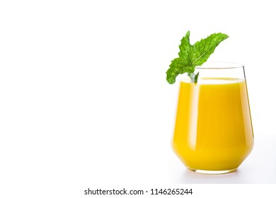 Mango Lassi dessert. Traditional Indian drink isolated on white background. Copyspace