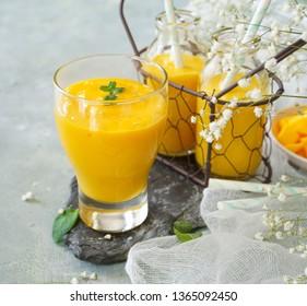 Mango Lassi / Indian mango yogurt drink, selective focus