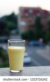 Mango lassi, traditional sweet lassi with mango, an indian drink speciality
