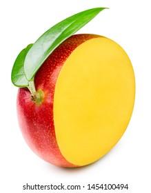 Mango with leaf isolated on white background. Mango Clipping Path. Professional studio photo