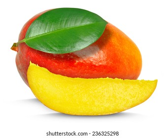 mango with leaf and slice isolated on whit