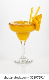 Mango Margarita frosted with chili powder This tropical cocktail is served in many tropical places specially in Mexican beaches.
