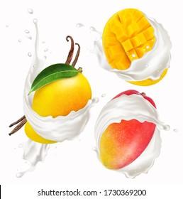 Mango with milk splash isolated on a white background