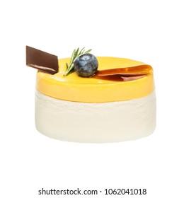 Mango Mousse Cake with Chocolate and Blueberry Isolated on White Background