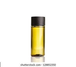 Mango oil bottle.Isolated white background.
