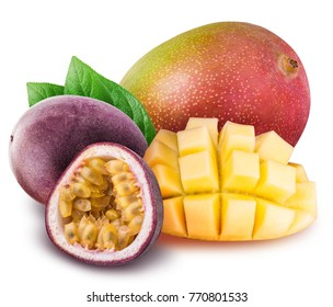 Mango and passion fruit isolated on white background with clipping path