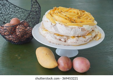 Mango Passion Fruit Pavlova