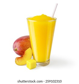 Mango Peach Smoothie or Shake in a Glass with Straw and Garnish on a White Background