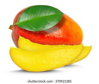 mango pieces isolated on white background