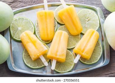 Mango popsicle sticks, homemade ice cream