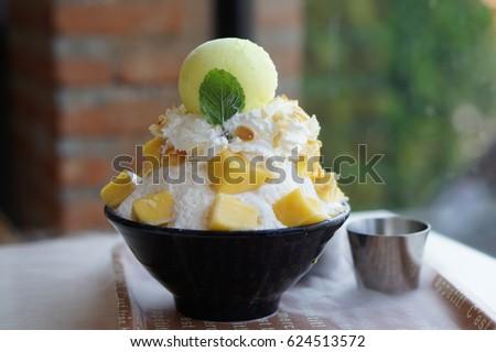 Mango Shaved Ice Mango Bingsu Korean Stockfoto Jetzt Bearbeiten