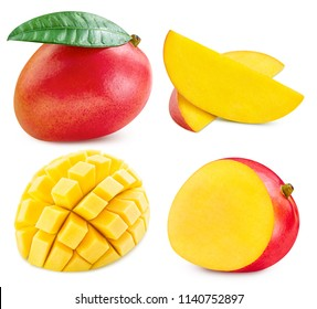 mango slice collection isolated on white background Clipping Path