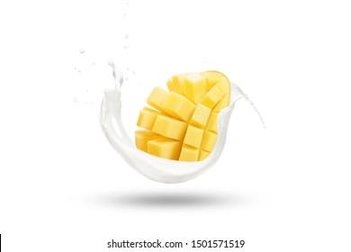 Mango Slice Fall on Milk Splash