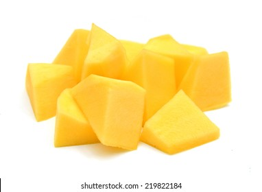 Mango slice isolated on white background