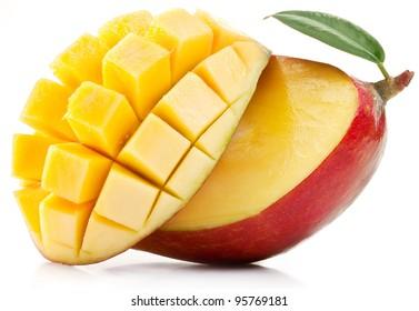 Mango with mango slice isolated on a white background.