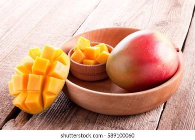 mango sliced in wooden plate