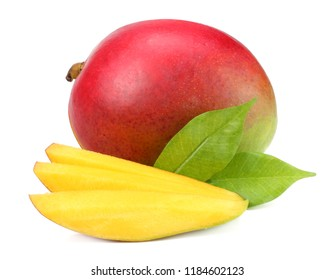 mango with slices and green leaves isolated on white background. healthy food.
