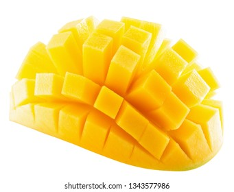 mango slices isolated on a white background