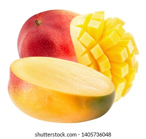 mango with slices isolated on a white background