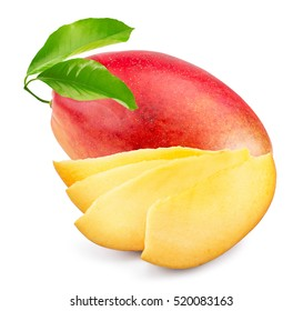 mango with slices isolated on the white background