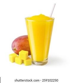 Mango Smoothie or Shake with Straw and Garnish on a White Background