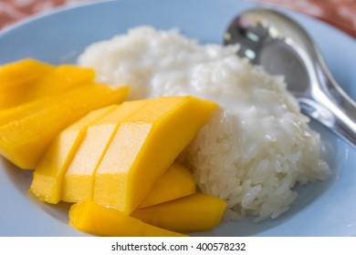 Mango with Sticky Rice, Close up photo