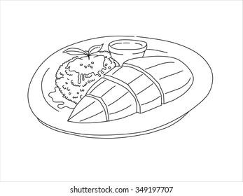 Mango sticky rice illustration