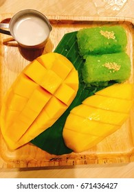 Mango and sticky rice on table. Thai dessert