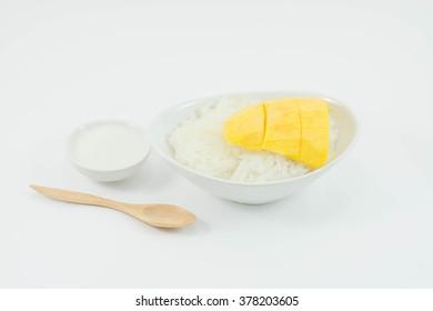 Mango sticky rice on white background, Thai dessert