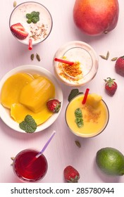 Mango and strawberry smoothies top view