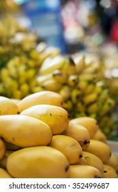 Mango tropical fruit on asian market