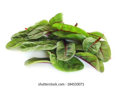 Mangold salad or Sweet beet leafs isolated on white background