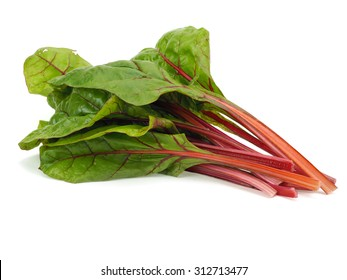 Mangold or Swiss chard leaves on a white background