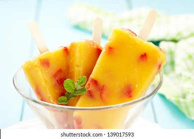 Mango-Peach Ice Cream with Strawberry