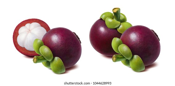 Mangosteen fruit. Double set isolated on white background for package design