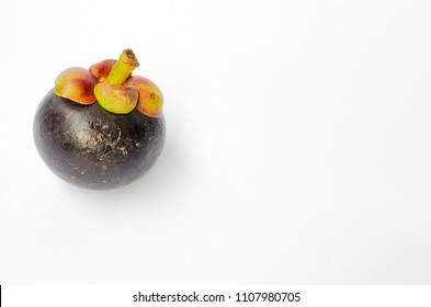 mangosteen fruit on white background,queen of fruits.