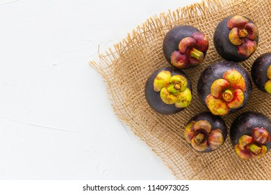 Mangosteen Fruit with top view.