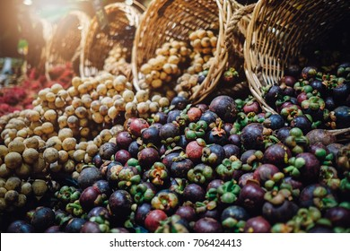 Mangosteen fruits sell in a market, Mangosteen background