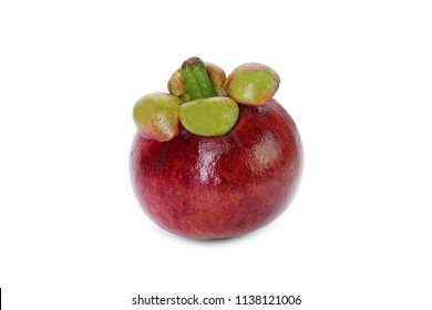 Mangosteen isolated on white background. Mangosteen, the famous exotic delicious tropical fruits from Thailand. Mangosteen also known as Queen of fruits.