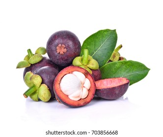 Mangosteen isolated on white background.