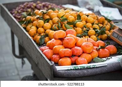 Mangosteen mandarines khaki on street food stall
